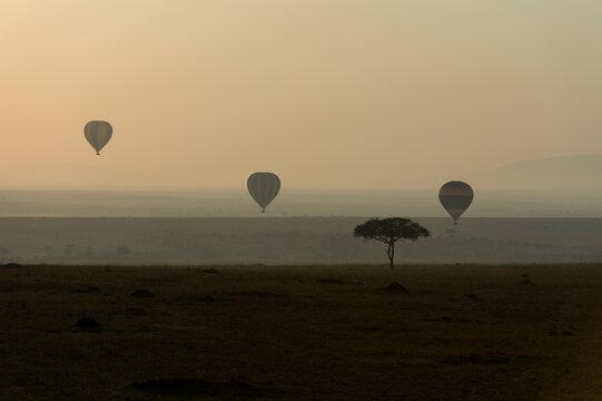 Hot air balloons float above the Masai Mara in Kenya as the sun rises.