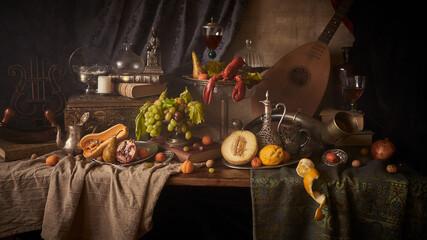 Fototapeta Fotografia jak malarstwo olejne przedstawiająca martwą naturę z homarem i owocami w stylu starych mistrzów malarstwa holenderkiego. obraz