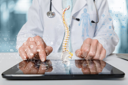 Concept of studying the study of the patient's spine using mobile devices.