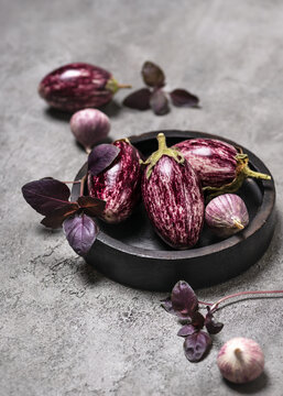 Organic raw purple mini eggplants with garlic and basil on grey stone background. Vegetarian concept of preparation healthy eating. Copy space.
