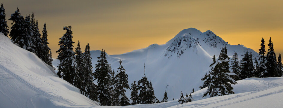 The sky turns orange as the winter sun begins to set on the Arm in the Mount Baker Ski Area backcountry.