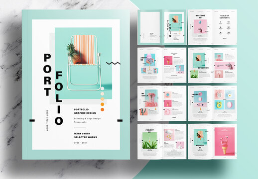 Portfolio Layout with Mint Accents