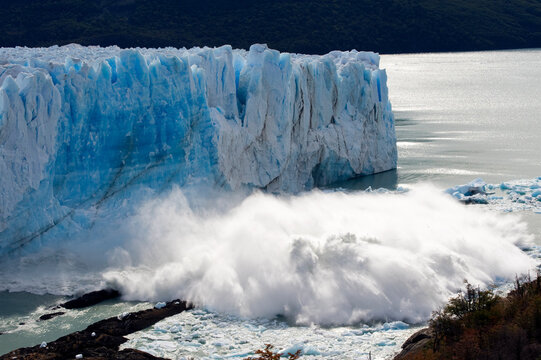 A roughly 50 meter square chunk of glacier calves off, Perito Moreno Glacier, Patagonia Argentina.