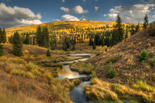 McClure Pass at sunset during the peak of fall colors in Colorado
