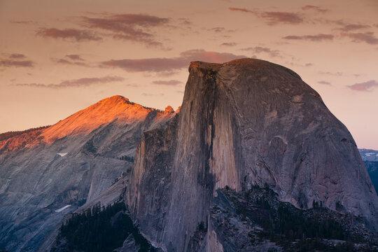 Half Dome at sunset in Yosemite National Park in California's Sierra Nevada mountain range.
