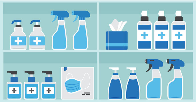 Pharmacy vector shelf, showcase medicine store, medical bottles and containers drug, packaging medication. PPE personal protective equipment. Hygiene. Disinfection illustration