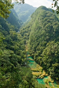 A view of Semuc Champey, a natural monument on the Cahabon River near Lanquin, Guatemala.