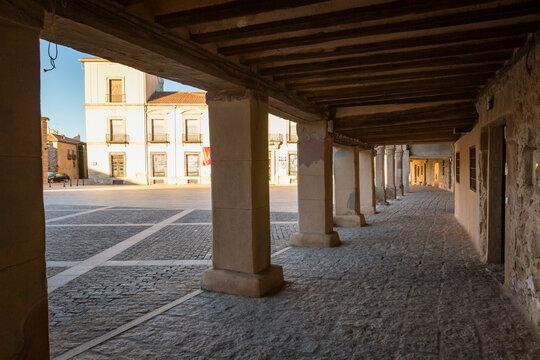 colonnade at the main square (Plaza Mayor) in Medinaceli, province of Soria, Castile and Leon, Spain