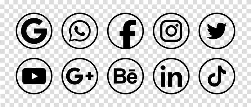 MAGELANG, INDONESIA - MAY 5, 2021: Facebook, Instagram, Twitter, Youtube, WhatsApp, Dribble, Tiktok, Linkedin, Google plus, Google - collection of popular social media icons. Vector illustration.