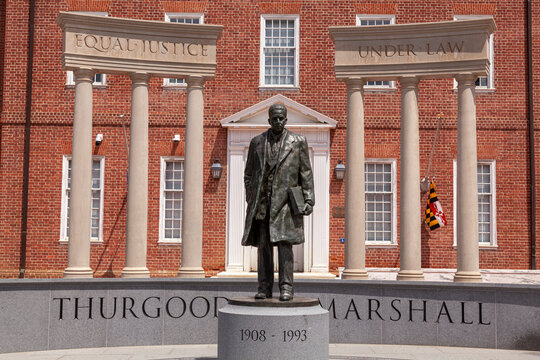 05-02-2021 Annapolis, MD, USA: Statue of Thurgood Marshall in the lawyers mall in front of Maryland General Assembly and the Supreme Court. He was a famous civil rights activist.