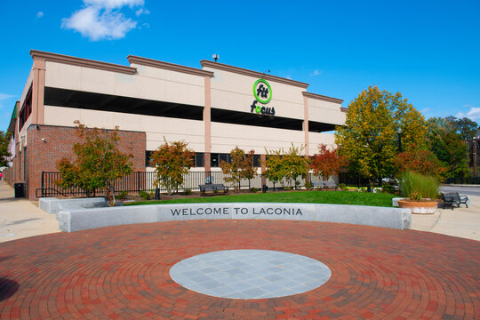 Welcome to Laconia sign at Mill Plaza in city of Laconia, New Hampshire NH, USA.