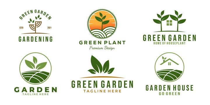 set / bundle green garden logo template vector illustration design