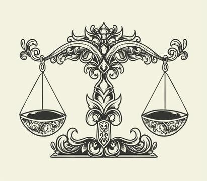 illustration vector antique libra scales ornament monochrome style