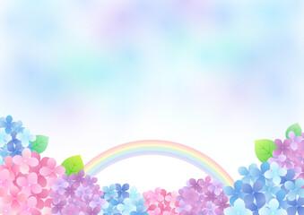 Fototapeta 梅雨の紫陽花 背景フレーム ☆ バリエーション多数 obraz