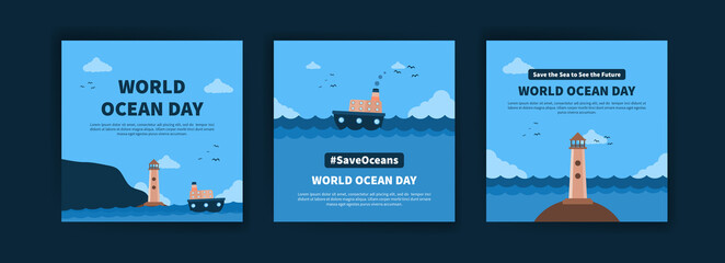 Obraz World Ocean Day. Education on the importance of protecting the oceans. Banner vector for social media ads, web ads, business messages, discount flyers and big sale banners. - fototapety do salonu