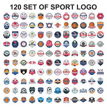set of sport logo , set of ball tournament vector