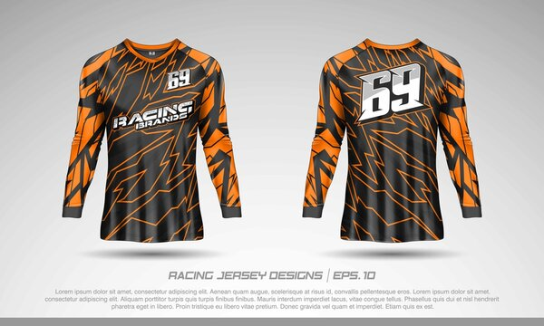 Long sleeve t-shirt design template, Motocross racing jersey mockup. Sport uniform front and back view