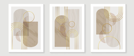 Fototapeta Abstract Math art background vector. Modern block color art wallpaper. Geometric marbling gold style texture. Cubism slow-poly backgrounds. Good for home deco, wall art, poster, invite and cover. obraz