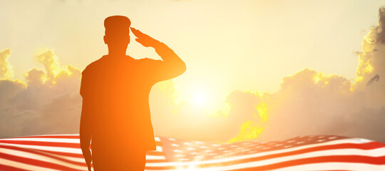 Canvas Prints Beige Soldier and USA flag on sunrise background .Concept National holidays , Flag Day, Veterans Day, Memorial Day, Independence Day, Patriot Day.