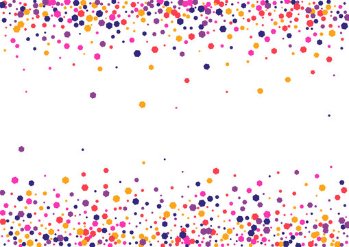 Yellow Birthday Circle Background. Dot Splash Wallpaper. Pink Round Congratulation. Confetti Multicolor Anniversary Frame. View Texture.