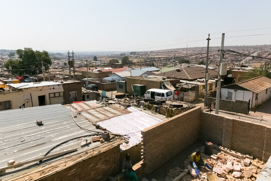 High Angle rooftop view of low income houses in Alexandra township Johannesburg South Africa