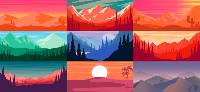 Set of cartoon mountain landscape in flat style. Mountain landscape with fir trees. Design element for poster, card, banner, flyer. Vector illustration