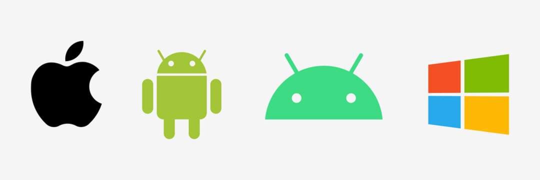 Apple, android and Windows logo. Mobile OS logo. Apple, Google android and Microsoft Windows icons. Editorial vector. Rivne, Ukraine - May 6, 2021