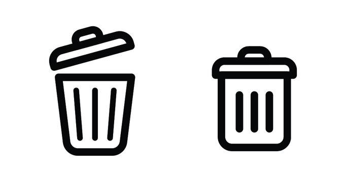 trash can icons set, dust bin web symbol, detele icon