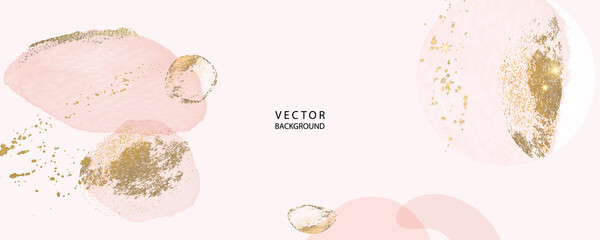 Fototapeta minimal background in pink and golden metallic texture gallery wall art vector design in frame for home decorate
