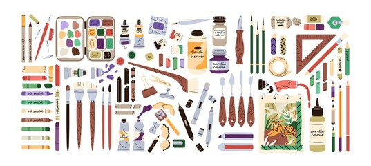 Obraz Set of artist's painting supplies, tool kits and accessories. Crayons, erasers, brushes, colour pencils, acrylic, oil and watercolor dyes. Flat vector illustration of stationery isolated on white - fototapety do salonu