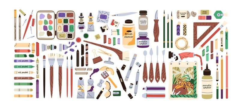 Set of artist's painting supplies, tool kits and accessories. Crayons, erasers, brushes, colour pencils, acrylic, oil and watercolor dyes. Flat vector illustration of stationery isolated on white