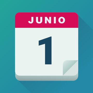 Calendario para el día 1 de junio (diseño plano)
