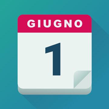 Calendario per il giorno del 1 giugno (design piatto)