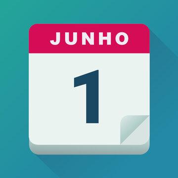 Calendário para o dia 1 de junho (design plano)