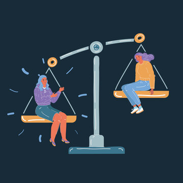 Vector illustration of Concept of importance of person. Two women sit at scale on dark background. Job, envious, jealousy, low self-esteem. omparing herself to others person on white background.