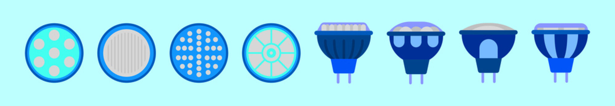 set of light blub cartoon icon design template with various models. vector illustration isolated on blue background