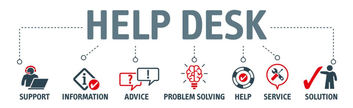 Banner help desk and support concept vector illustration