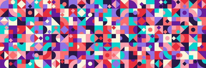 Colorful abstract geometric pattern design in retro style. Vector illustration.