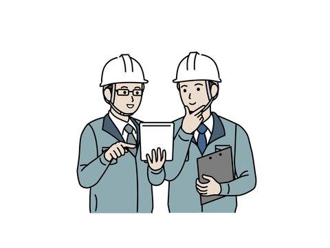打ち合わせをする 現場監督 建築士 工場長 男性 計画 スケジュール イラスト素材