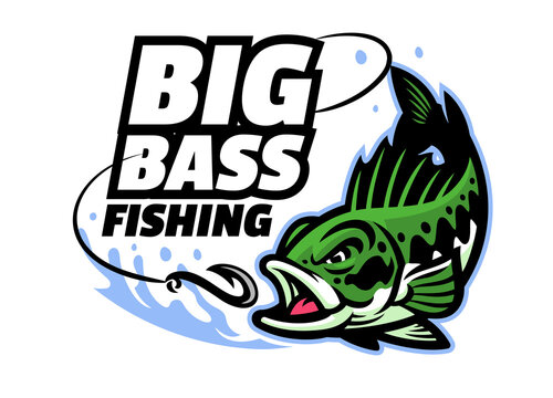 big bass fishing mascot logo