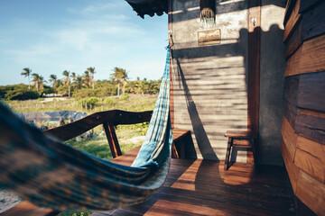 hammock on a wooden balcony