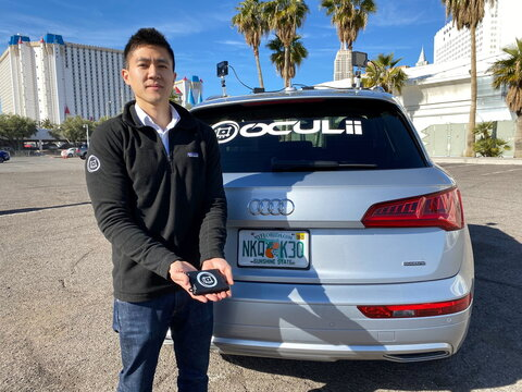 Oculii CEO Steven Hong shows the company's radar kit at the CES tech show in Las Vegas, Nevada