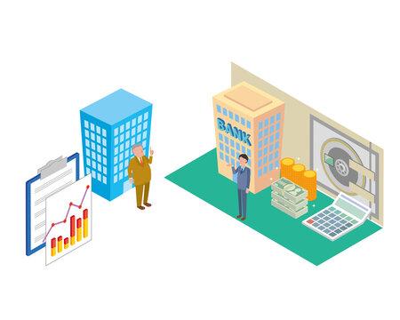 融資を依頼する中小企業と銀行