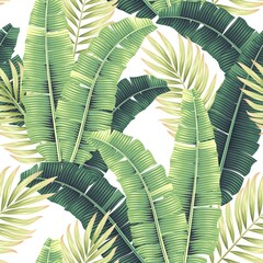 Vector seamles pattern with tropical palm leaves - fototapety na wymiar