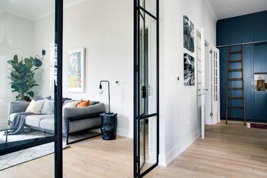 Glass door and modern living room