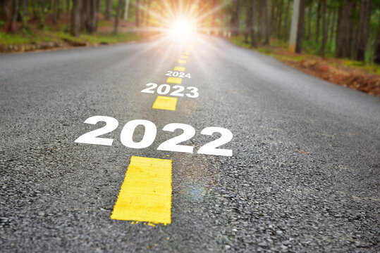 2022 to 2024 road to recovery with sunbeam. Challenge with success concept and natural background idea