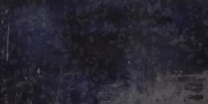 Floral Velvet Blue Black Leaf Pattern Grungy Chalk Board Texture Background or Abstract Wallpaper