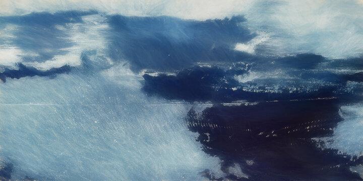 Seascape, Landscape Abstract Ocean Art Texture, Nature Backdrop