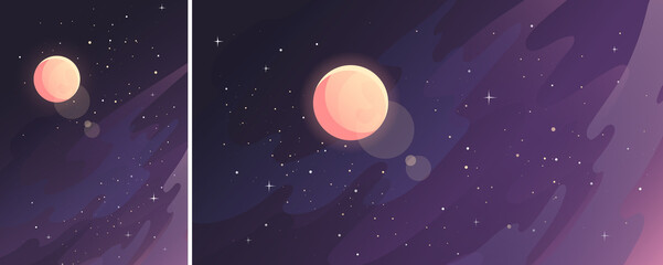 Canvas Prints Eggplant Moon in starry sky. Space landscape in vertical and horizontal orientation.