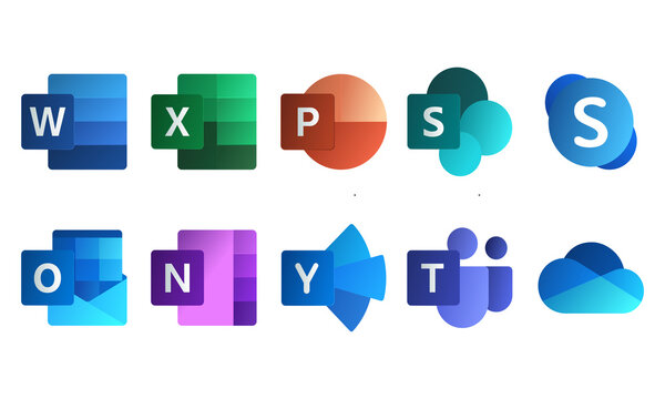 Microsoft Ofiice New Icons Logo Vector. Word, Excel, Teams, OneNote, OneDrive, PowerPoint, SharePoint, Outlook, Skype